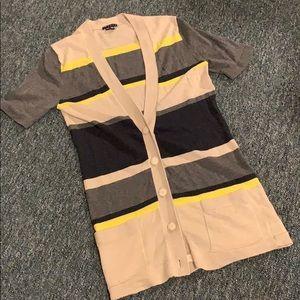 THEORY wool button FALL cardigan medium stripe M